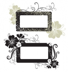 Two floral vintage frame vector