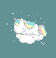 Unicorn sleep fairy dream poster flyer template vector