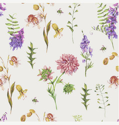 watercolor seamless pattern with summer meadow vector image