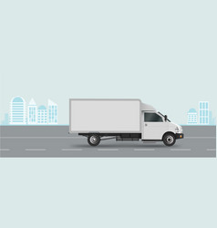 white truck on road cargo van vector image