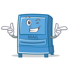 wink mailbox character cartoon style vector image