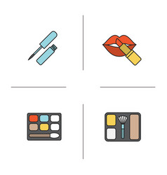 womens cosmetics color icons set vector image