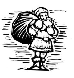 Woodcut Santa Claus vector