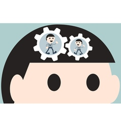 Working cogwheel in head businessman vector