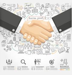 Business handshake Infographics option vector image vector image