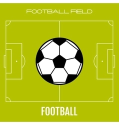 Green soccer field with flat icon ball football vector image