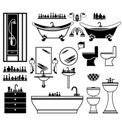 Set of black icons of bathroom vector image