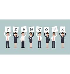 teamwork businessmen and businesswomen vector image vector image