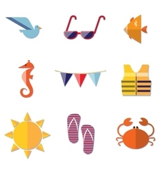 Traveling Summer Vacation and Tourism Icons vector image