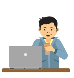 Young man working on laptop inside coffee shop vector