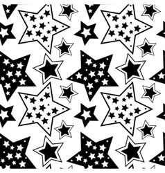 Black and white pattern with stars vector image