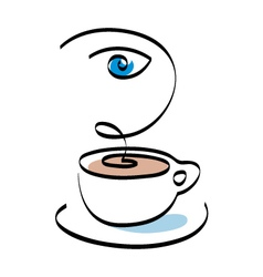 Cafe shop emblem sign icon vector image vector image