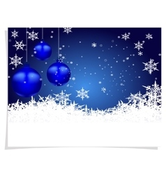 Christmas New Year s card Three blue shiny ball vector image vector image