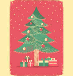 christmas tree vintage card on old paper poster vector image