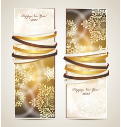 Greeting cards with ribbons vector image