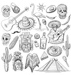 Hand drawn set of mexican symbols vector image