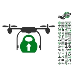 Load Cargo Drone Icon With Bonus vector image vector image