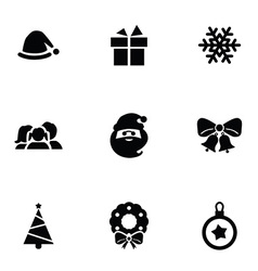 new year icons 9 icons set vector image