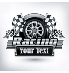 emblem races checkered flag vector image vector image