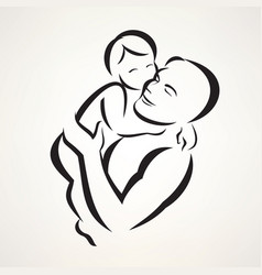 father and baby isolated symbol vector image vector image