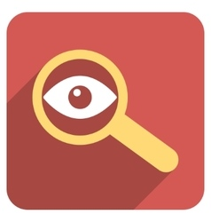 Investigate vision flat rounded square icon with vector