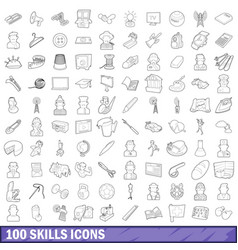 100 skills icons set outline style vector image