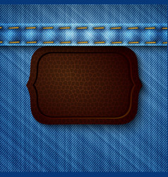 Abstract denim background with leather tag vector image vector image