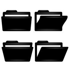 Black Folder Icon vector image vector image