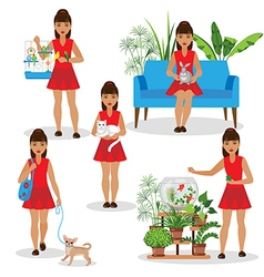 girl with pets vector image vector image
