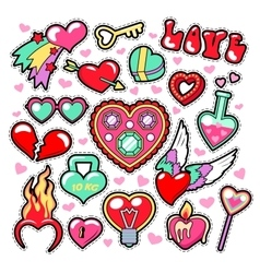 Hearts Love Badges Stickers Patches vector image vector image
