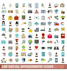100 social environment icons set flat style vector
