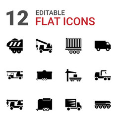 12 trailer icons vector