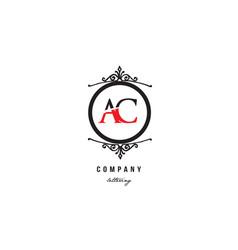 Ac a c red white black decorative monogram vector