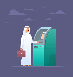 Arab man using atm machine taking money from vector
