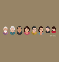 Asian people head avatar set different characters vector
