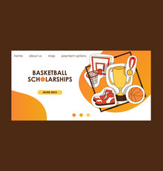 basketball sport basket-ball landing page of vector image