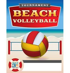 Beach Volleyball Tournament Flyer vector image