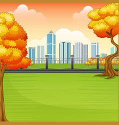 beautiful autumn park with city buildings vector image