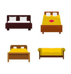 bed icon set flat style vector image