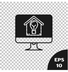 Black computer monitor with smart house and light vector