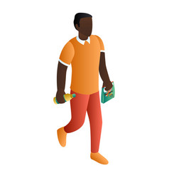 black man at shopping icon isometric style vector image