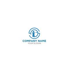 blue sp lighthouse logo design vector image