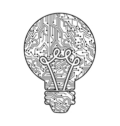bulb with circuit isolated icon design vector image