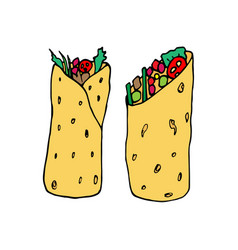 Burrito - mexican traditional food vector