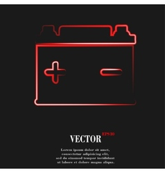 Car battery Flat modern web button and space for vector image