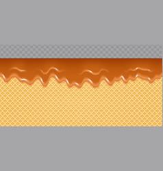 caramel melted on wafer background honey flow vector image