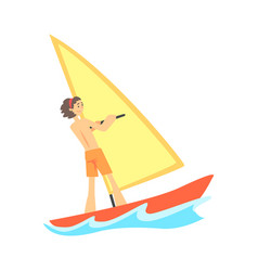 cartoon character of smiling young man windsurfing vector image