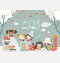 cartoon different children enjoying winter hello vector image