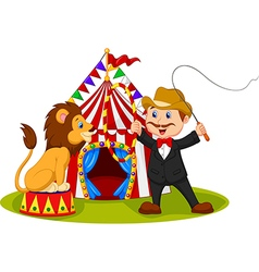 Cartoon tamer train a lion with circus background vector