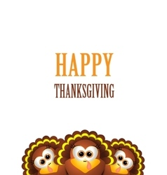 Cartoon turkey in hat Card for Thanksgiving Day vector image